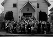 Congregation gathers in front of the Mallory St. church in 1959