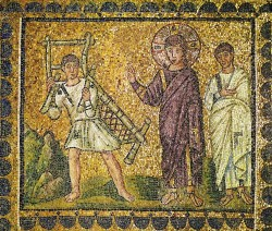 Jesus cures a person suffering from palsy. Mosaic (6th)
